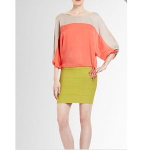 BCBG color block top with cutout shoulder